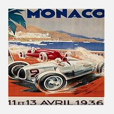 1936 Monte Carlo Grand Prix Poster Tile Coaster