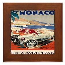 1936 Monte Carlo Grand Prix Poster Framed Tile