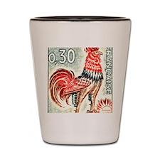 1962 France Gallic Rooster Postage Stam Shot Glass