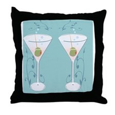 martini flip flops Throw Pillow