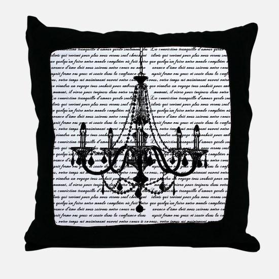 Vintage Black Chandelier Throw Pillow