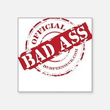 "BAD ASS COACH - BLACK Square Sticker 3"" x 3"""