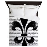 Black with silver fleur di lis Queen Duvet Covers