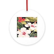 Aloha Shirt Hibiscus Black Round Ornament