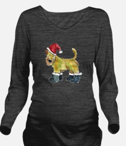 Wheaten Santa Long Sleeve Maternity T-Shirt