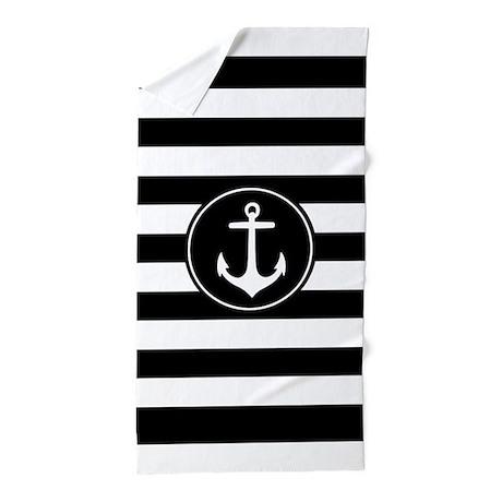 Black And White Nautical Anchor Stripe Beach Towel by