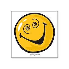 "crazy smiley Square Sticker 3"" x 3"""