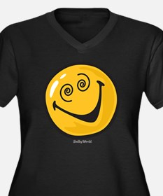 crazy smiley Women's Plus Size Dark V-Neck T-Shirt