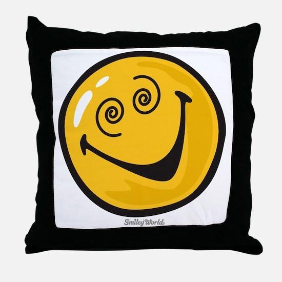 crazy smiley Throw Pillow