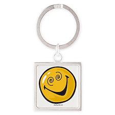 crazy smiley Square Keychain