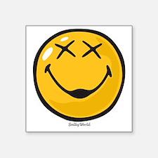 "unconscious smiley Square Sticker 3"" x 3"""