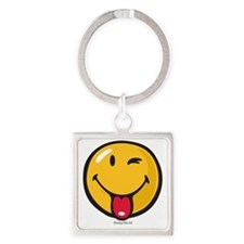 playful smiley Square Keychain