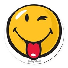 playful smiley Round Car Magnet