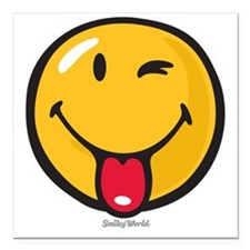 """playful smiley Square Car Magnet 3"""" x 3"""""""