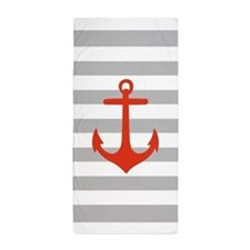 Red Nautical Anchor Grey Stripes Beach Towel