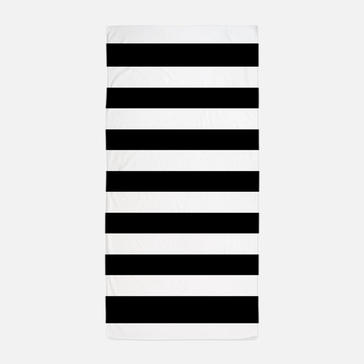 Black And White Stripe Beach Towel