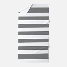 Charcoal Grey And White Stripe Beach Towel