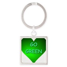 Go Green Heart Square Keychain