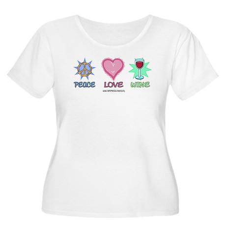 Peace Love & Wine Women's Plus Size Scoop Neck T
