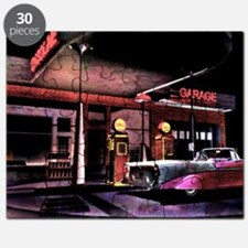 1950s Gas Station Scene Puzzle