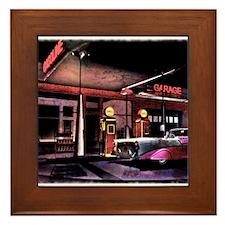 1950s Gas Station Scene Framed Tile