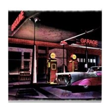 1950s Gas Station Scene Tile Coaster