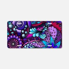 Blue and Purple Paisley Aluminum License Plate