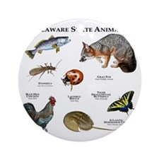 Delaware State Animals Round Ornament