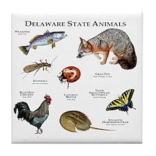 Delaware State Animals Tile Coaster