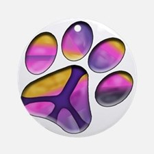 Peaceful Paws Giant Dog Rescue Serv Round Ornament