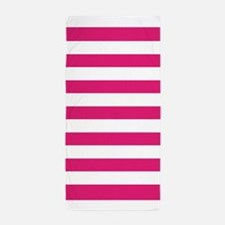 Hot Pink And White Stripe Beach Towel