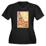 Flat Idaho Women's Plus Size V-Neck Dark T-Shirt