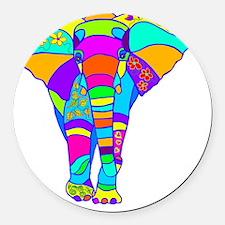 elephant colored designed Round Car Magnet
