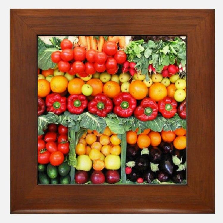 fruits and veggies Framed Tile