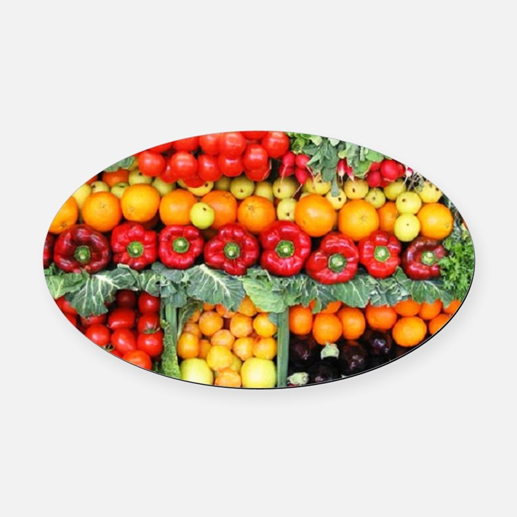 fruits and veggies Oval Car Magnet