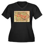 Flat Iowa Women's Plus Size V-Neck Dark T-Shirt