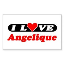 I Love Angelique Rectangle Decal