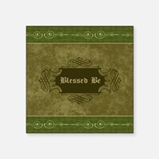 """Blessed Be Vintage (Green) Square Sticker 3"""" x 3"""""""