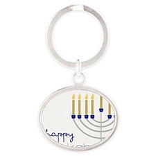Happy Chanukah Oval Keychain