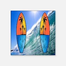 "surfboard flip flops Square Sticker 3"" x 3"""