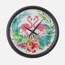 Flamingos With Colorful Tropical Large Wall Clock
