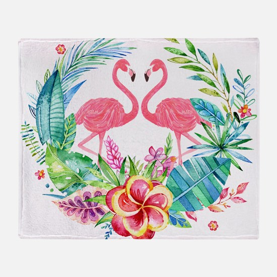 Flamingos With Colorful Tropical Wre Throw Blanket