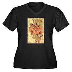 Flat Illinois Women's Plus Size V-Neck Dark T-Shir