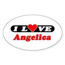 I Love Angelica Oval Decal