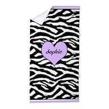 Purple Personalized Zebra Beach Towel