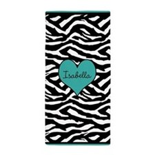 Turquoise Customized Zebra Beach Towel