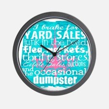 junker shirt bluewithppinkandwhite Wall Clock