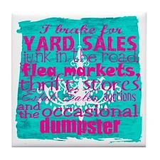 junker shirt bluewithpink Tile Coaster