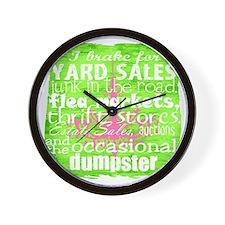 junker shirt greenwithpinkandwhite Wall Clock