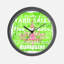 junker shirt greenwithpinkandwhite Wall Clock